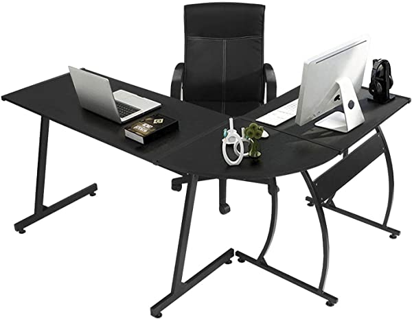 GreenForest L Shape Corner Computer Office Desk PC Laptop Table Workstation Home Office 3 Piece Black