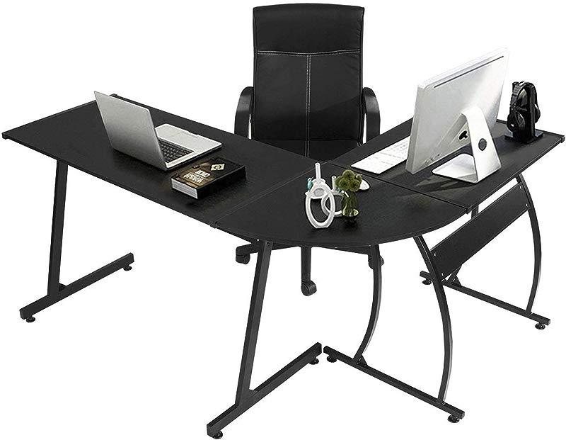 GreenForest L Shape Corner Computer Office Desk PC Laptop Table Workstation Home Office 3 Piece Black
