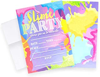 Slime Invitations (Quantity of 20), Birthday Party, Larger Sized with Vivid Colors, Glow Party Supplies, Envelopes Included