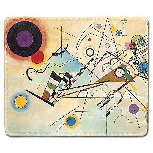 dealzEpic - Art Mousepad - Natural Rubber Mouse Pad with Famous Abstract Fine Art Painting of Composition 8 by Wassily Kandinsky - Stitched Edges - 9.5x7.9 inches