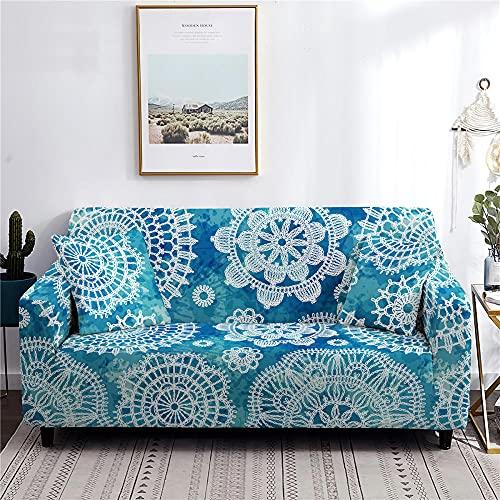 Funda Sofa 4 Plazas Chaise Longue Flor De Mandala Azul Claro Fundas para Sofa con Diseño Universal,Cubre Sofa Ajustables,Fundas Sofa Elasticas,Funda de Sofa Chaise Longue,Protector Cubierta para Sofá