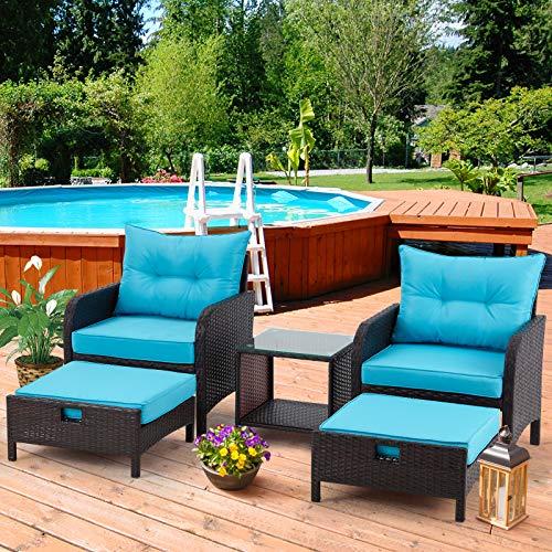 AVAWING 5 Piece Patio Furniture Set, Outdoor Wicker Rattan...
