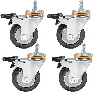 4-inch zwenkwielen, zwaar uitgevoerde trolley-meubelwielen, TPR-zwenkwielen met rubberen schroefdraad, volledig vergrendel...