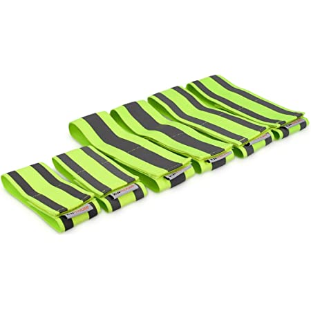 kwmobile 6X Reflective Armbands - High Visibility Outdoor Safety Bands for Jogging Cycling Walking - Neon Reflector Strap for Arm Leg Ankle Wrist