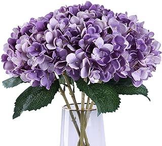 Jyi Hope Artificial Hydrangea Silk Flowers Fake Flower Bouquet 3Pcs for Home Garden Wedding Party Decoration(Purple)
