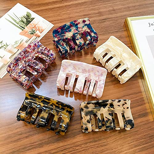 Pinza de pelo hueca vintage, utilizada para pinza de pelo de leopardo de color para mujer, pinza de pelo de cangrejo de cola de caballo para niña, accesorios de tocado de acrílico simple (6 Pcs)