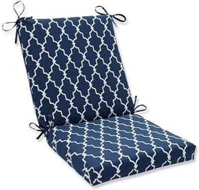 Amazon.com: Cojín redondeado contemporáneo azul y blanco ...