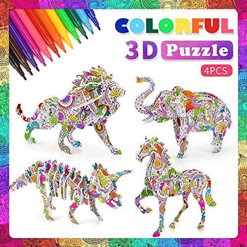 3D Puzzle ab Kinder, Goorder 4 Stück Bastelset für Mädchen Jungen, Basteln ab 6 7 8 9 10 Jahre, Kinderspielzeug Puzzle, Creative Geschenk für Geburtstag Weihnachten