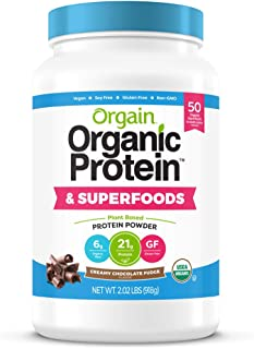 Orgain Organic Plant Based Protein + Superfoods Powder, Vegan, Non Dairy, No Sugar Added, Gluten Free, Soy Free, Non-GMO, ...