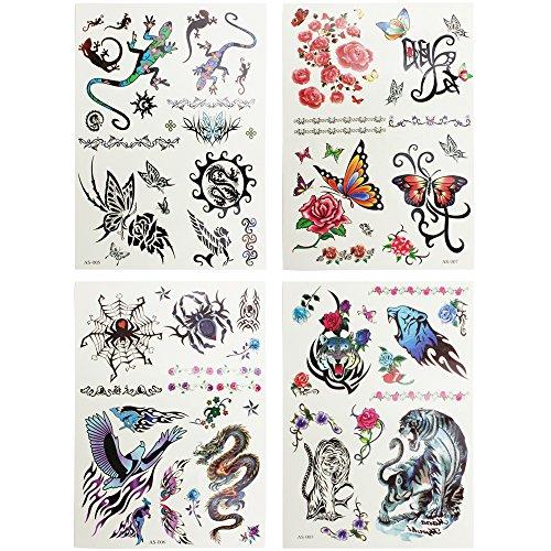 COM-FOUR® 32x arcs de tatouage avec arrachage de tatouages ??pour filles avec différents motifs