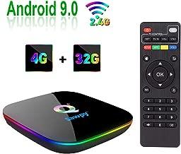 Sawpy Q Plus Android 9.0 tv Box 4GB RAM DDR3 + 32GB ROM H6 Quad core cortex-A53 Frequency up to 2GHz 4K&6K 2.4GHz WiFi USB 3.0 Smart TV Box (4GB+32GB)
