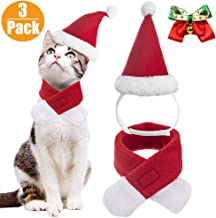VALUCKEE Christmas Cat Costumes Santa Hats and Scarf, Adjustable Xmas Outfit Clothes with Bow Tie for Pet Small Dog, Kitty Puppy Xmas Gift Present