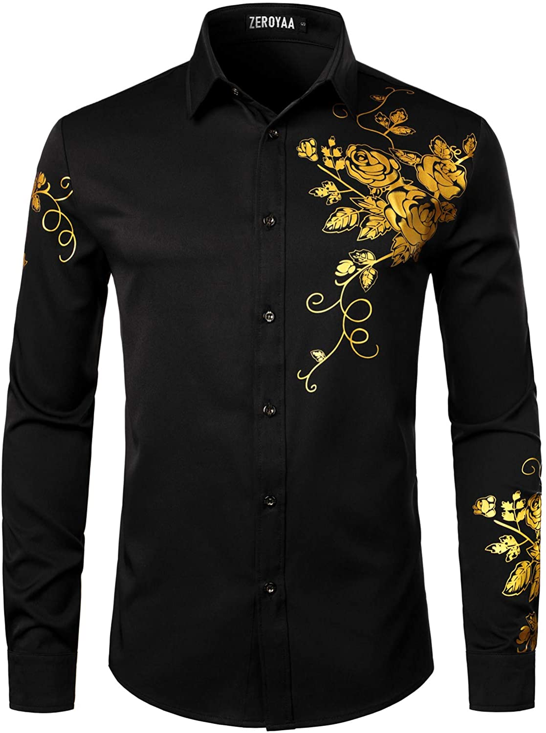 ZEROYAA Men's Hipster Rose Floral Printed Slim Fit Long Sleeve Button Up Party Dress Shirts