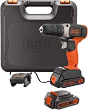Black+Decker 18V 1.5Ah Li-Ion Cordless Electric Compact Drill Driver with 2 Batteries in Kitbox for Wood Drilling & Screwd...