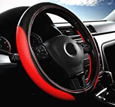 Labbyway Car Universal 15-inch Microfiber Steering Wheel Cover,Anti-Slip,Odorless,Four Seasons Universal (Red)