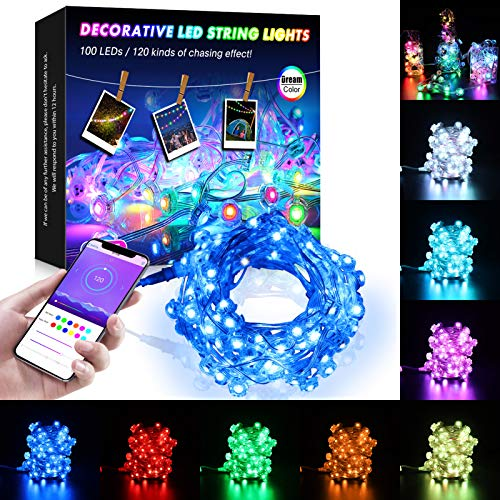 Outdoor String Lights, Bluetooth Led String Lights with Dream Color Chasing, 32.8ft 100 LED IP68 Waterproof Dimmable Color Changing Hanging Lights with APP, for Bedroom, Garden, Wedding, Xmas Decor