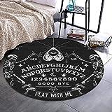 NiYoung Vintage Skeleton Magic Ouija Board Black Round Area Rug for Bedroom, Living Room, Home Kitchen/Memory Foam Premium Kitchen Rug Entrance Mat, Non-Slip Fast Dry Nursery Rugs (36' Diameter)