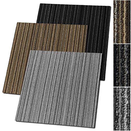 Teppichfliesen Venice | selbstliegend | Strapazierfähig und pflegeleicht | Bodenbelag für gewerbliche und Private Räume | 50x50 cm | Streifen-Optik (Grau)