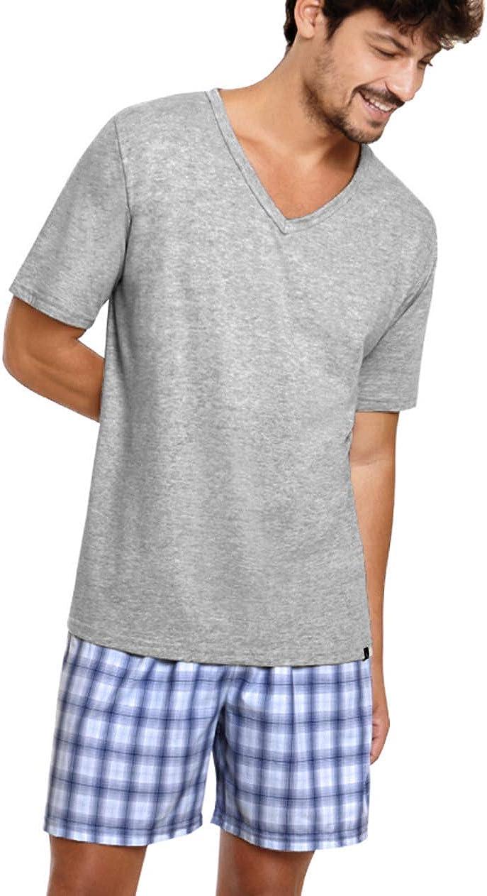Lupo Men's Short Sleeve Pajamas Set Sleepwear Basic Casual V-Neck Round Neck
