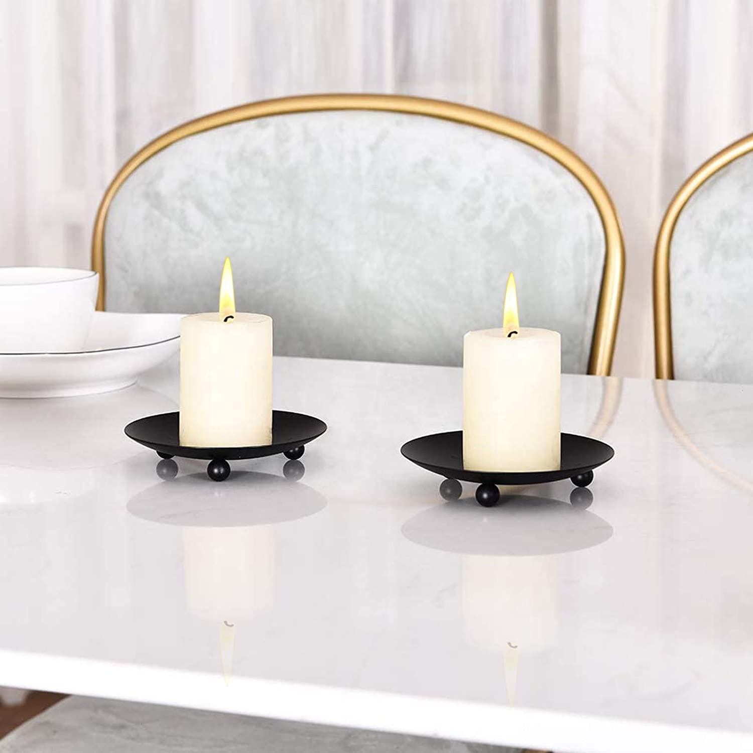 Decorative Pillar Candle Holders 4 Pcs Iron Plate Candle Holder Incense Cones Golden Spa Pedestal Tealight Candle Holders for LED /& Wax Candles Tables Weddings