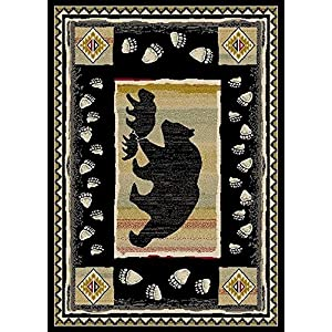 Rug Empire Take the Lead Rustic Lodge Area Rug, Black Bear, 5'3″ W x 7'3″ L