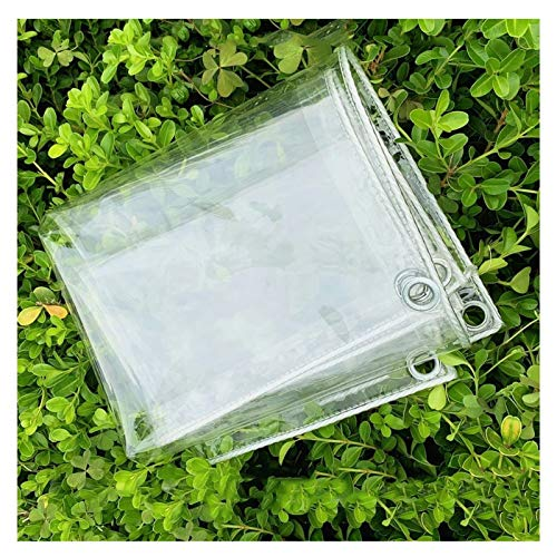 WHAIYAO Glass Clear Tarpaulin Waterproof Heavy Duty Transparent PVC Soft Plastic Tarp Anti-aging Terrace Garden Rain Cover, Thickness 0.3mm, 100% Waterproof (Color : Clear, Size : 1X2M)