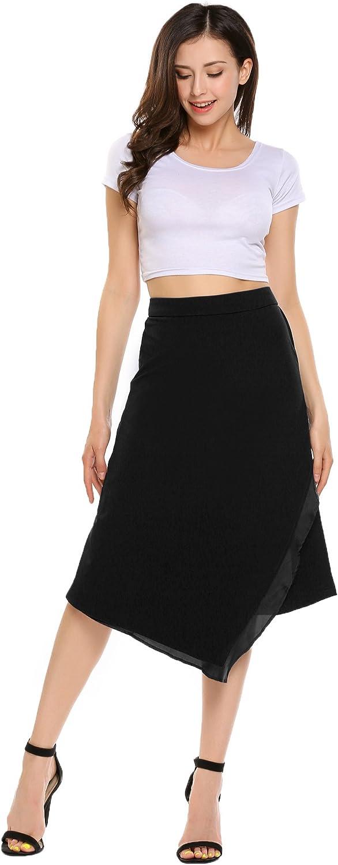 Zeagoo Women's Flared High Elastic Waist Irregular Stitching A line Skirt Long Midi Skirt (S-XXL) (M, Black)