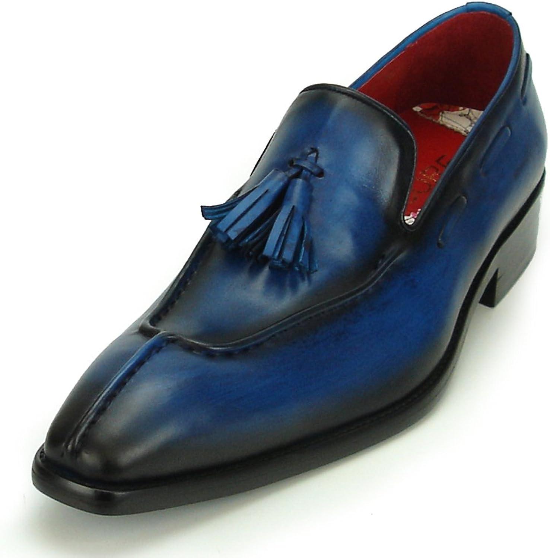 Encore Fiesso by Aurelio Garcia FI-8701 Genuine Leather bluee with Tassel Slip on - European shoes Designs