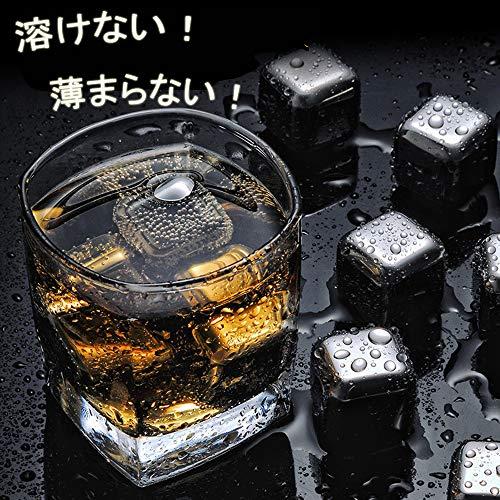 【ベストジ】ステンレス氷アイスキューブステンレスアイス溶けない氷お酒ジュースクーラートング専用保存箱付きプレゼント用永久氷繰り返し使用おしゃれな氷6個セットトング付き