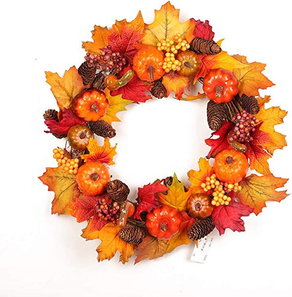 Fall Front Door Wreath 18 Inches Pumpkin Berry Pine Cones Foliage Harvest Autumn Colors Garland Outdoor Indoor Wall Window Home Party Halloween Christmas Thanksgiving Day Decor