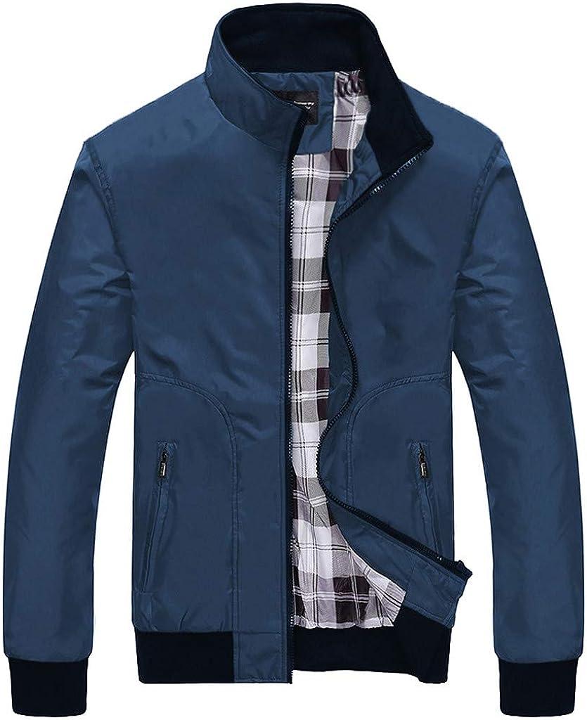 HONGJ Baseball Jackets for Mens, Fall Plaid Patchwork Zipper Sweatshirts Lightweight Windbreaker Sports Casual Outerwear