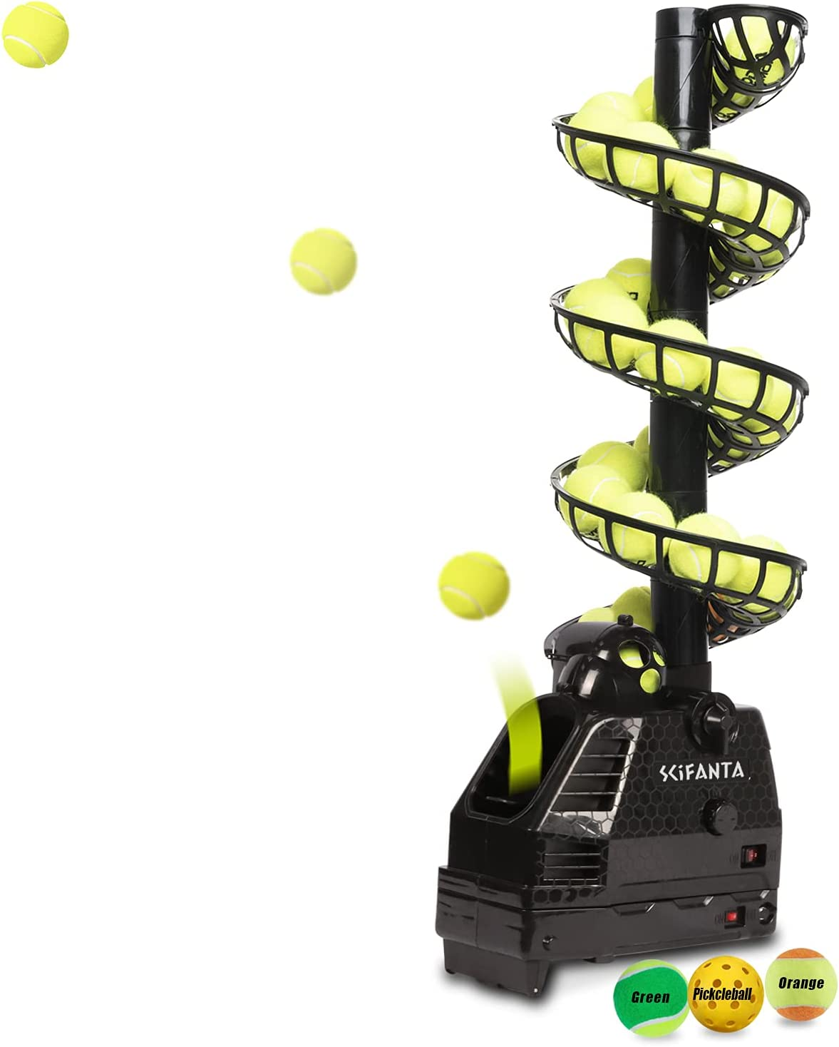 SCIFANTA Adjustable&Portable Tennis Ball Tosser w/Oscillation for Self-Practice|Ball Launcher for Beginners/Kids/Coaches/Home-Court|Accurate&Efficient Feed Machine |AC & Battery Powered