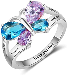 Custom 4 Names Mothers Rings with 4 Simulated Birthstones Butterfly Promise Rings for Her Engraved Family Anniversary Rings for Mom Grandmother Personalized