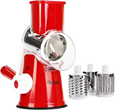 Manual Hand Speedy Mandoline Slicer Pasta Salad Maker Vegetable Fruit Cutter Rotating Drum Cheese Grater Potato Tomato Food Slicer With 3 Round Stainless Steel Blades (Red)