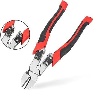 Side Cutting Pliers, Industrial Pliers with Wire Stripper/Crimper/Cutter Function, Heavy Duty Plier, 8 inch NEWACALOX (Black)
