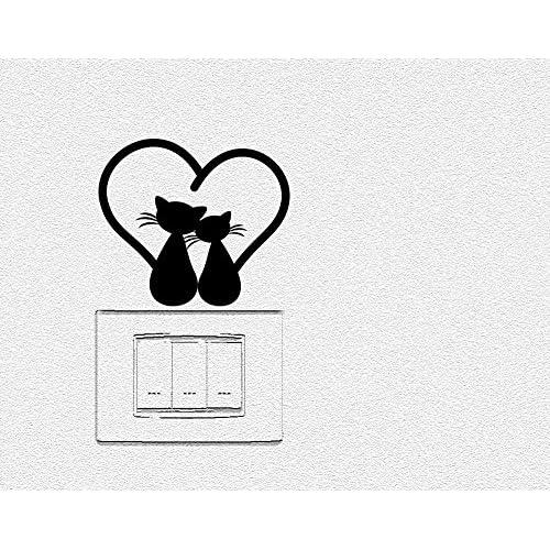 Adesivi per interruttore spine placche Wall Stickers decorativo Gatto LOVE Adesivo Murale Decorazione Cameretta