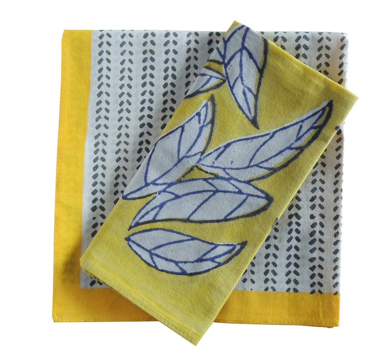 毎日ラインナップくそーバンダナ 大判 黄色 2枚 セット 花柄 おしゃれ インド綿 コットン 北欧 カントリー ナチュラル ハンドブロックプリント イエロー ギフト プレゼント a_bn_085