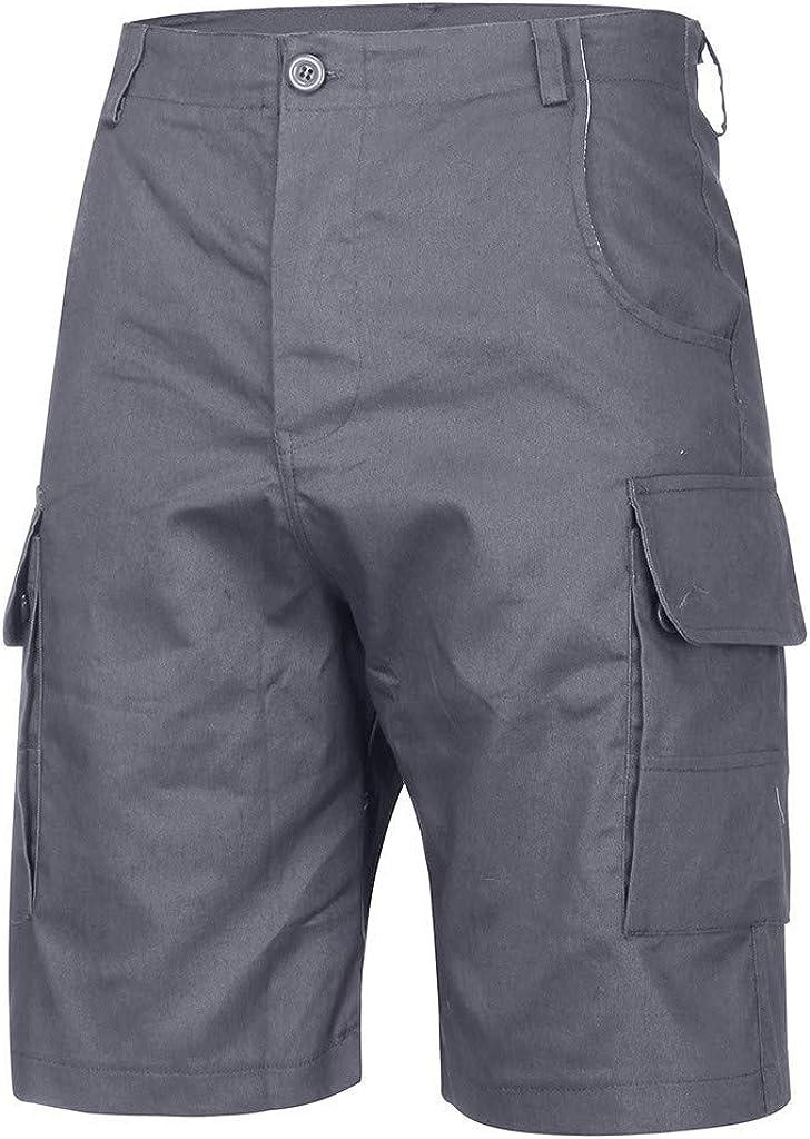 MODOQO Cargo Shorts for Men,Plus Size Button Multi-Pocket Soft Cotton Elastic Waistband Shorts