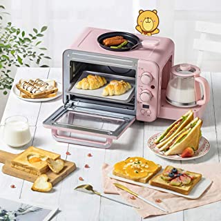 Horno de encimera GJJSZ-3-en-1,máquina de Desayuno,tostadora,Olla de Bebida Caliente,Leche Tibia + asado Frito + horneado + calefacción,1400 w de Potencia,8 l de Capacidad,Rosa