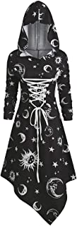 Womens Gothic Punk Lace Up Dress Fuladelt Plus Size Hoodies Dress Lace-up Tunic Tops High Waist Retro Dress Cloak Costumes