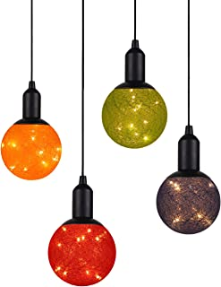 4 Pack Ball Light Globe Decorative Lights LED Warm Fairy Lights Battery Operated Rope Hanging Lighting for Indoor Wall Bedroom Curtain Wedding Christmas Tree Party