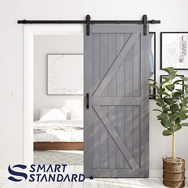 SMARTSTANDARD 36in X 84in Sliding Barn Door With 6 6ft Barn Door Hardware Kit Handle Pre Drilled Ready To Assemble DIY Unfinished Solid Cypress Wood Panelled Slab K Frame Grey