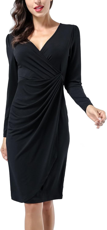 AVTOSRNO Women Classic Long Sleeve V Neck Draped Waist Tie Belt Tulip Wrap Dress