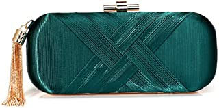 New Women's Dinner Bag, Tassel Bag for Evening Dresses in Europe and America, Banquet Clutch for Ladies (22.5 * 5 * 9.5Cm),Green