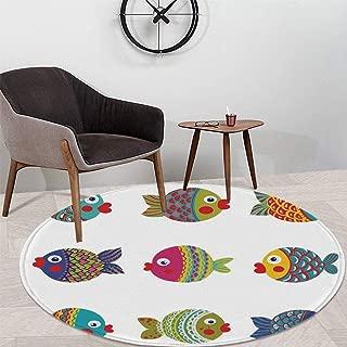 Ocean Animal Decor Custom Round Carpet,Boho Ethnic Featured Ornate Fish Gills Water Childish Kids Nursery Theme for Children Bedroom Corridor,47.24″ W x 47.24″ H