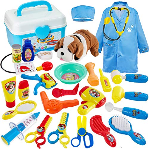 Buyger 28 Pezzi Valigetta Dottore Bambini Veterinario Cane Giocattolo Costume da Dottore Bambino 3 Anni