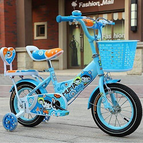 HAIZHEN Kinderwagen mädchenfürrad mit Korb, 12, 14, 16 oder 18 Zoll mädchen fürrad mit Trainingsr rn, Geschenke für Kinder, mädchen fürr r Für Neugeborene (Farbe   Blau, Größe   16 inch)