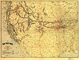 1900 map The Union Pacific System of Railroad and Steamship Lines, 1900|Size 18x24 - Ready to Frame| Pacific Coast|Pacific Coast US|Steamboat Lines|Union Pacific Railroad Company|West|West US