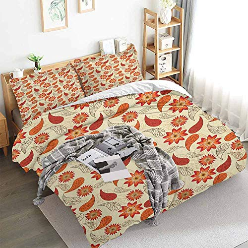 Aishare Store Orange Duvet Cover Set,Red Poppy Flowers in Retro Style and Leaves Artistic Flourish Paisley Pattern,Decorative 3 Piece Bedding Set with 2 Pillow Shams,Queen(90'x90') Orange Red Peach