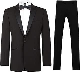 Mens Black 2 Piece Tuxedo Regular Fit Notch Lapel Evening Dinner Suit